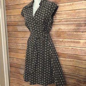 LOFT black/white embroidered dress.